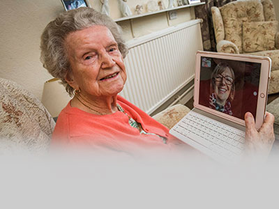 Viewpoint housing association – an elderly tenant on videocall with Tap into IT