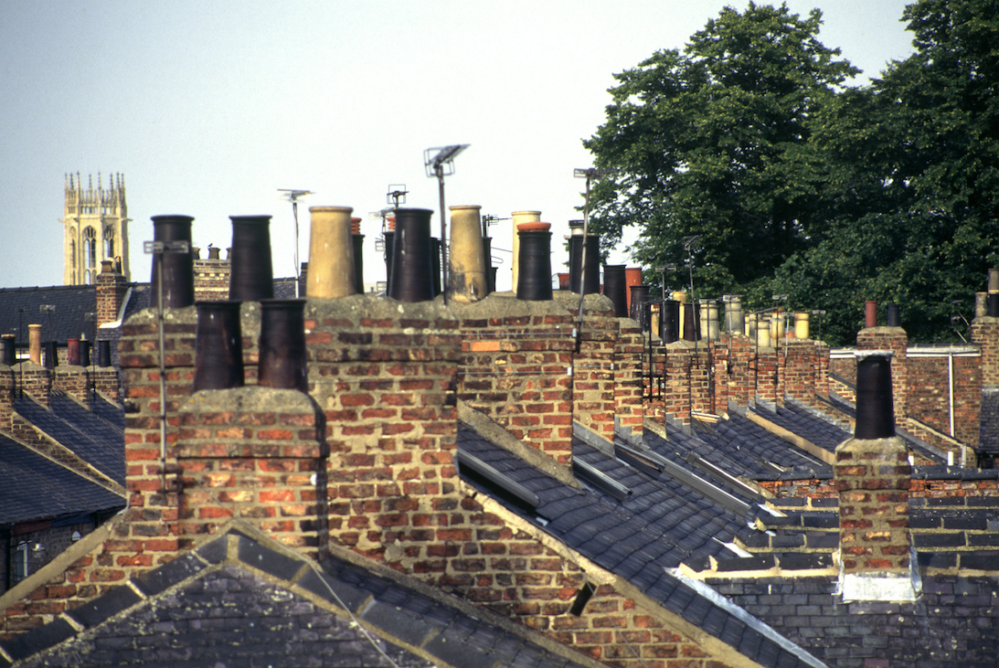 Chimneys on roof tops