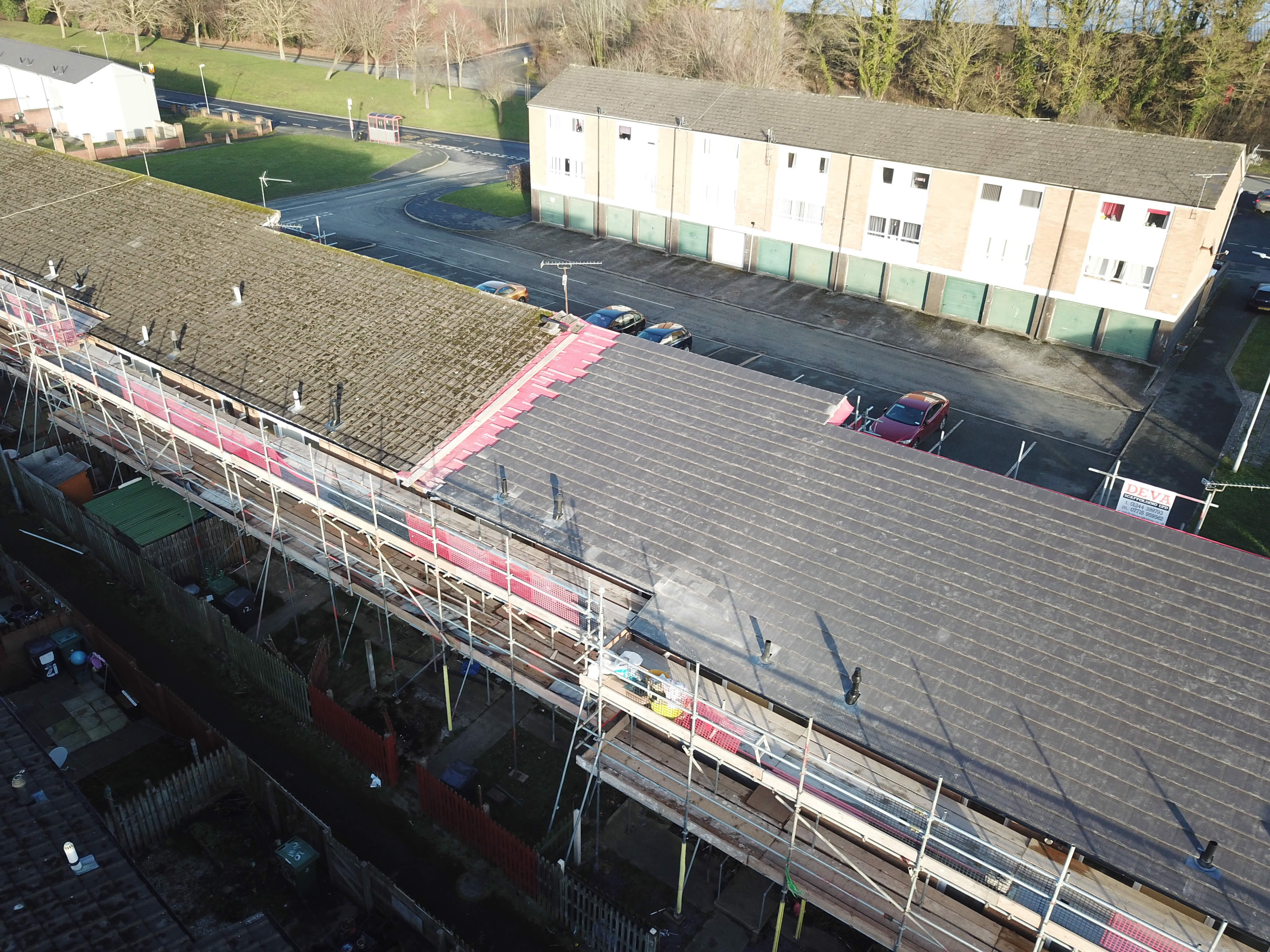 Roofing refurbishment at Plas Madoc copyright SuaveAirPhotos