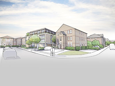 An artist's impression of the housing association properties