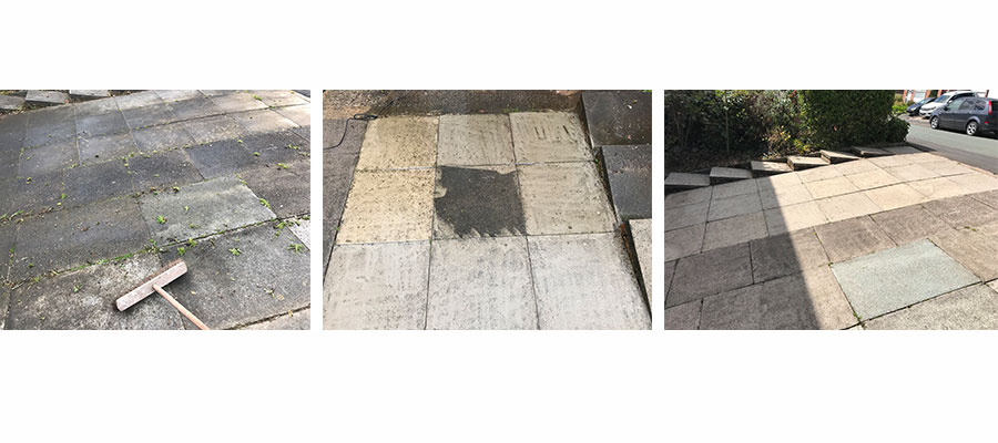 Before, during and after shots of driveway cleaned with Bosch UniversalAquatak 135 High Pressure Washer (£179)