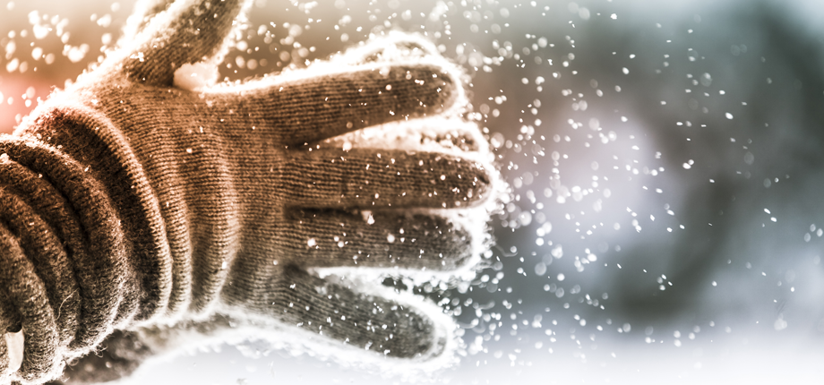Be prepared for a harsh winter gloved hand image