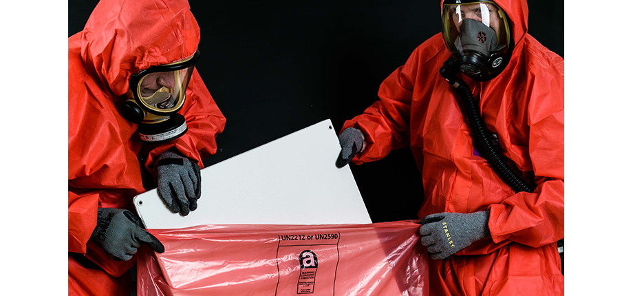 Asbestos being disposed of