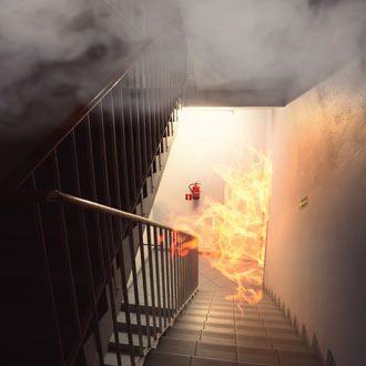 Fire on a staircase in an apartment building