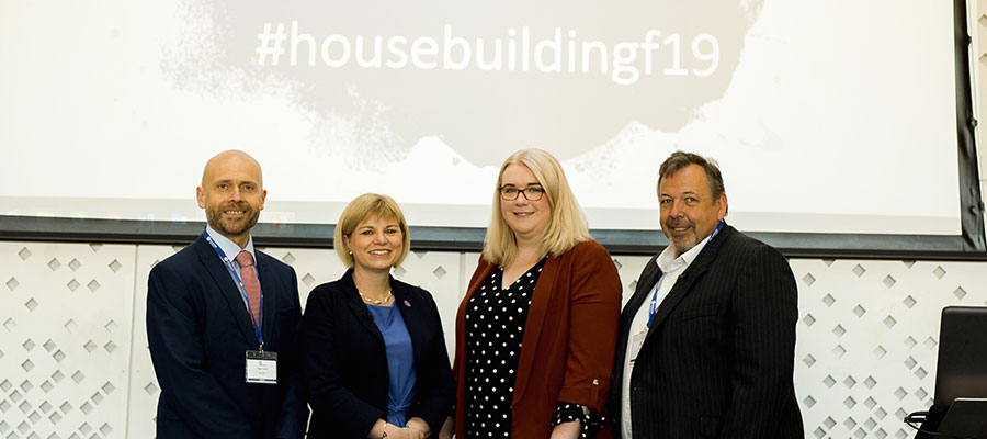Housebuilding Forum speakers – Peter Lowe from Barv=clays, Stephanie Ainsworth from Homes England, Victoria Galligan from Housing Association magazine and Val Bagnall from Apex Airspace