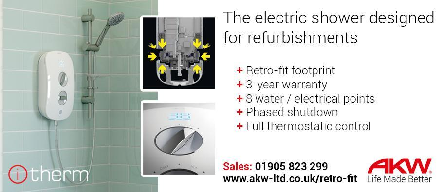 AKW electric shower designed for refurbishments
